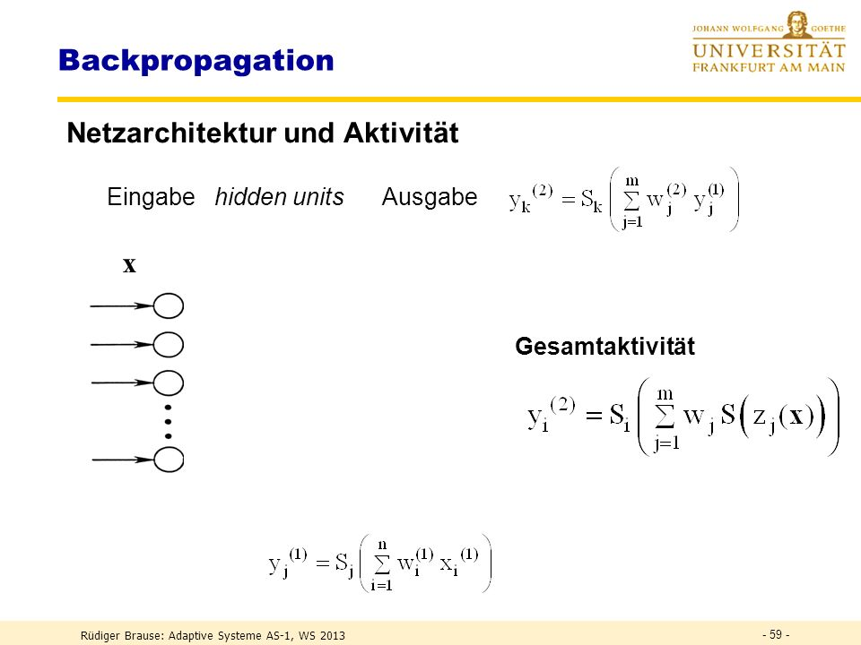 FEHLER-BACKPROPAGATION Rüdiger Brause: Adaptive Systeme AS-1, WS 2013 - 58 -