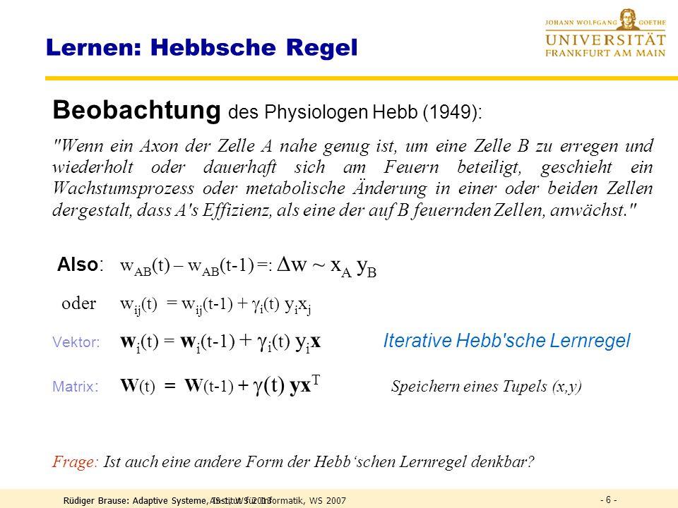 Rüdiger Brause: Adaptive Systeme AS-1, WS 2013 - 5 - Neuro-Modell des Assoziativspeichers Funktion: Jede Komp.ist lin.