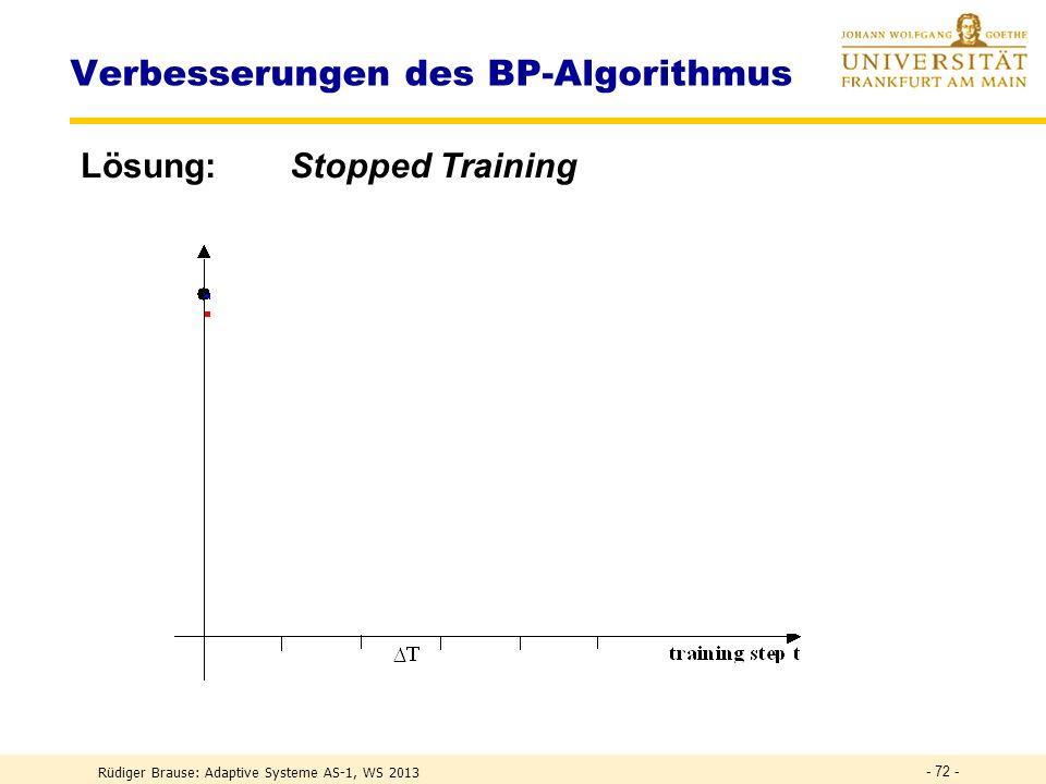 Rüdiger Brause: Adaptive Systeme AS-1, WS 2013 - 71 - Verbesserungen des BP-Algorithmus Problem Trotz guter Trainingsleistung zeigt der Test schlechte Ergebnisse f(x) x testsamples trainingsamples Überanpassung (overfitting) !