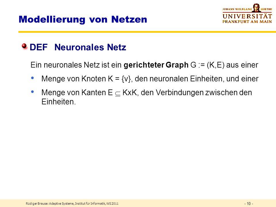 Rüdiger Brause: Adaptive Systeme, Institut für Informatik, WS 2011 - 9 - Modellierung eines Neurons Input-Output Formalisierung X={x}, Y = {y}, W = {w} DEF Transferfunktion F: X W Y F: X DEF Lernfunktion DEF formales Neuron