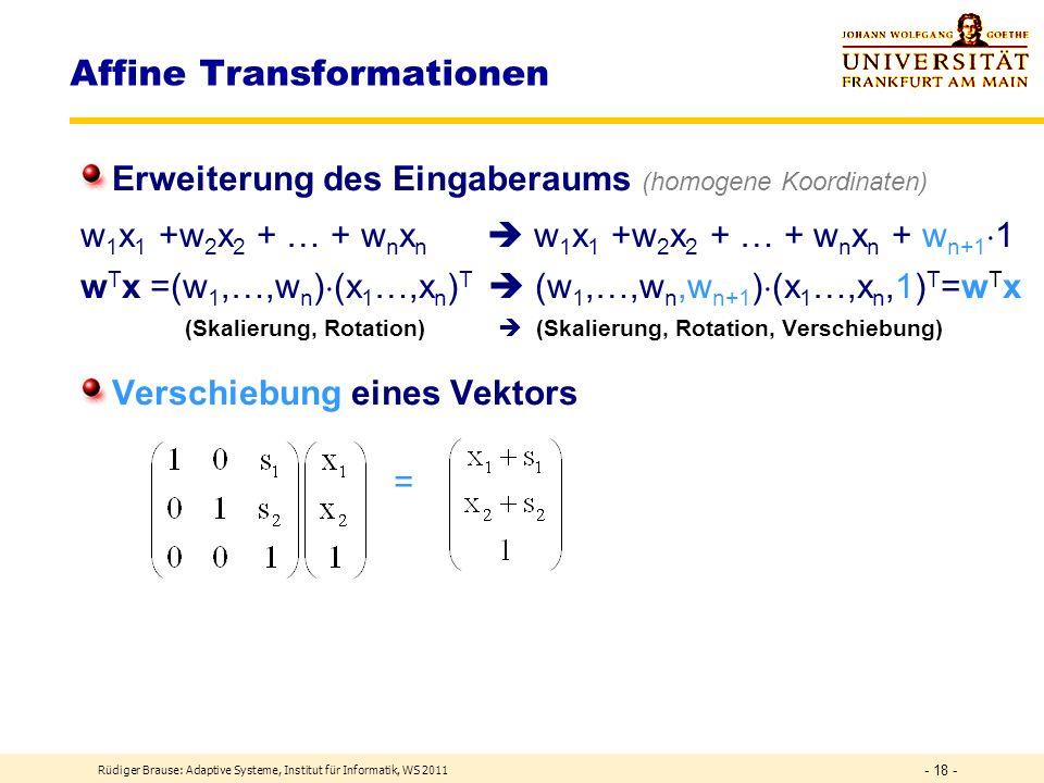 Rüdiger Brause: Adaptive Systeme, Institut für Informatik, WS 2011 - 17 - lineare Schicht Lineare Transformation mit NN y = = W·x Matrix-Multiplikatio