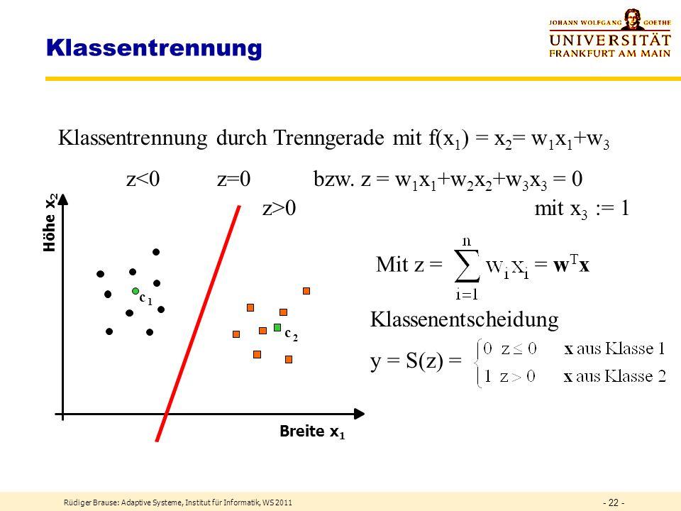 Rüdiger Brause: Adaptive Systeme, Institut für Informatik, WS 2009 - 21 - Klassenbildung heute Objekte werden durch Merkmale beschrieben z.B. qualitat