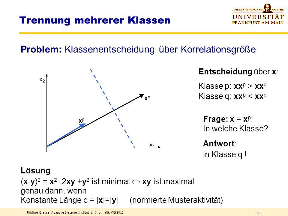 Rüdiger Brause: Adaptive Systeme, Institut für Informatik, WS 2011 - 29 - Trennung mehrerer Klassen Erinnerung: Lineare Separierung xrxr xpxp xkxk xqx