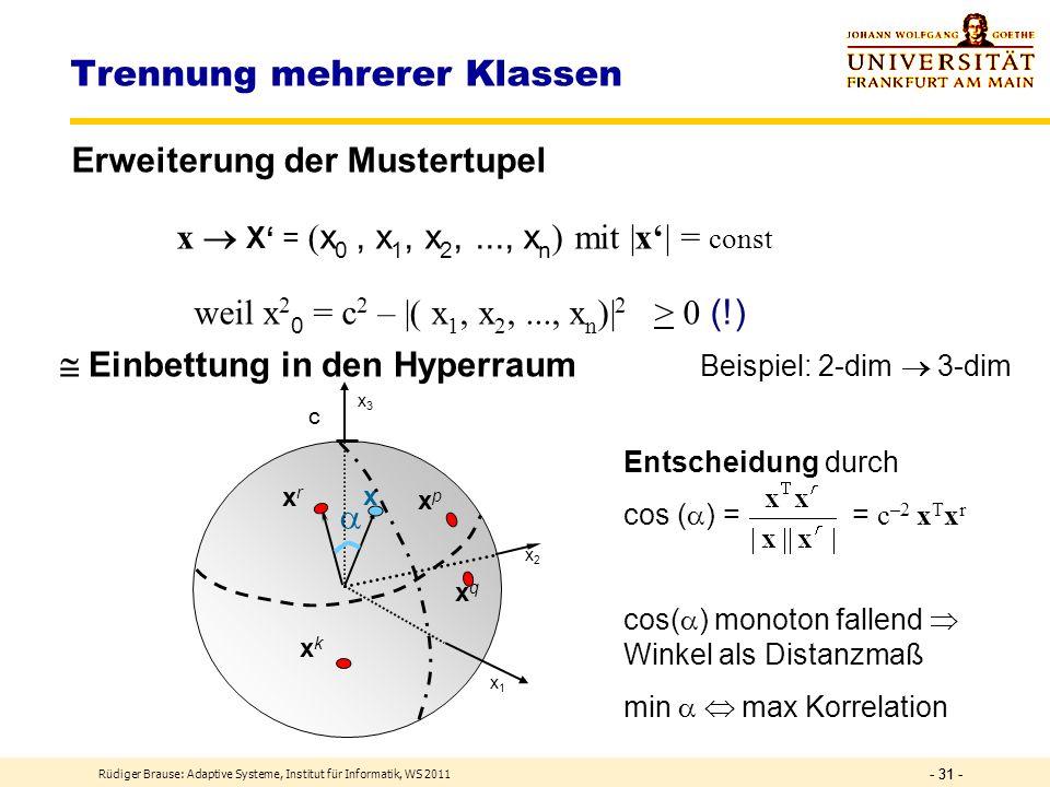 Rüdiger Brause: Adaptive Systeme, Institut für Informatik, WS 2011 - 30 - Trennung mehrerer Klassen Problem: Klassenentscheidung über Korrelationsgröß