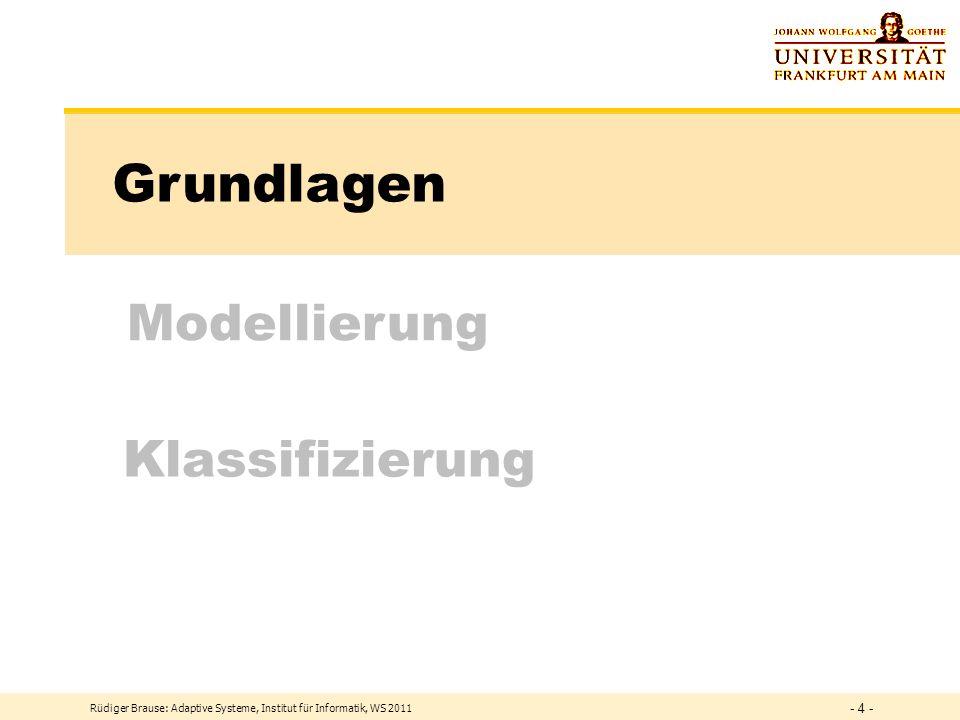 Rüdiger Brause: Adaptive Systeme, Institut für Informatik, WS 2011 - 3 - Vorschau Themen 1.Einführung und Grundlagen 2.Lernen und Klassifizieren 3.Mer