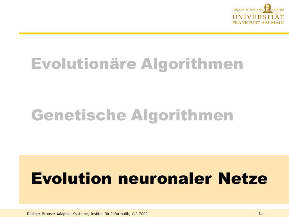 Rüdiger Brause: Adaptive Systeme - 14 - Evolutionäre Rekombination Rekombination = Austausch korresp. Parameter g 1 g 2 g 3 g 4 g 4 r M x y y x g 3 Be