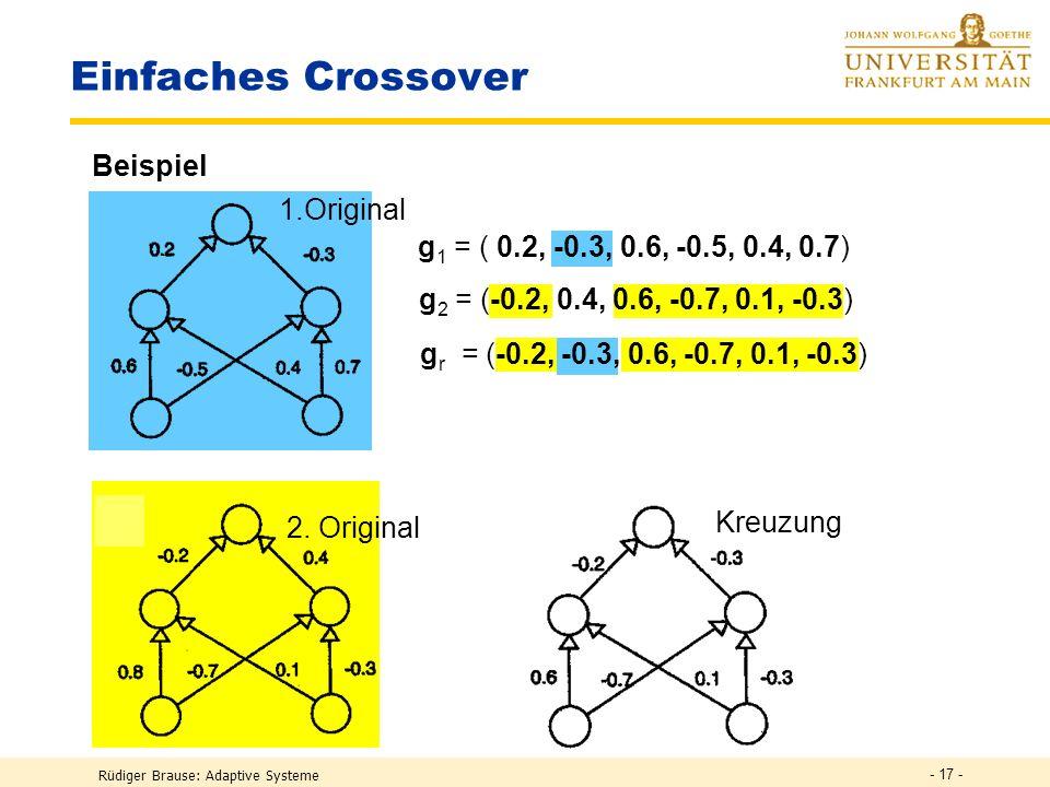 Rüdiger Brause: Adaptive Systeme - 16 - Kodierung der Verbindungsgewichte Individuum g = Kodierung eines Netzes fester Struktur durch seine Parameter