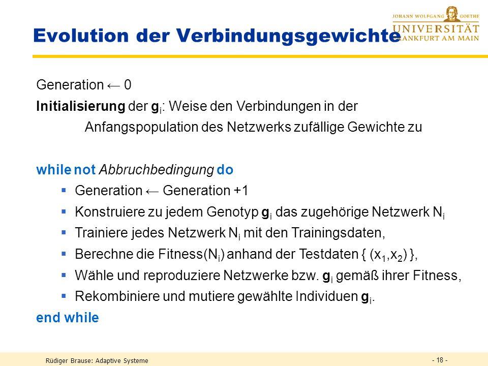 Rüdiger Brause: Adaptive Systeme - 17 - Einfaches Crossover Beispiel 1.Original 2. Original Kreuzung g 2 = (-0.2, 0.4, 0.6, -0.7, 0.1, -0.3) g 1 = ( 0