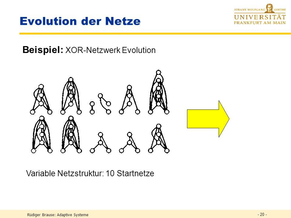 Rüdiger Brause: Adaptive Systeme - 19 - Evolution der Verbindungsgewichte Überblick Evolutionszyklus Phänotyp Genotyp Muster Training Evolut. Operator