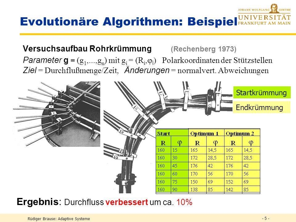Rüdiger Brause: Adaptive Systeme - 4 - Evolutionäre Algorithmen: Beispiel Entwicklung einer Düsenform (Rechenberg 1973) Parameter g = (g 1,...,g n ) m