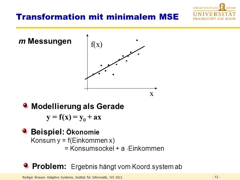 Rüdiger Brause: Adaptive Systeme, Institut für Informatik, WS 2011 - 12 - Transformation mit minimalem MSE Was ist die beste Schätzung für die Konstan
