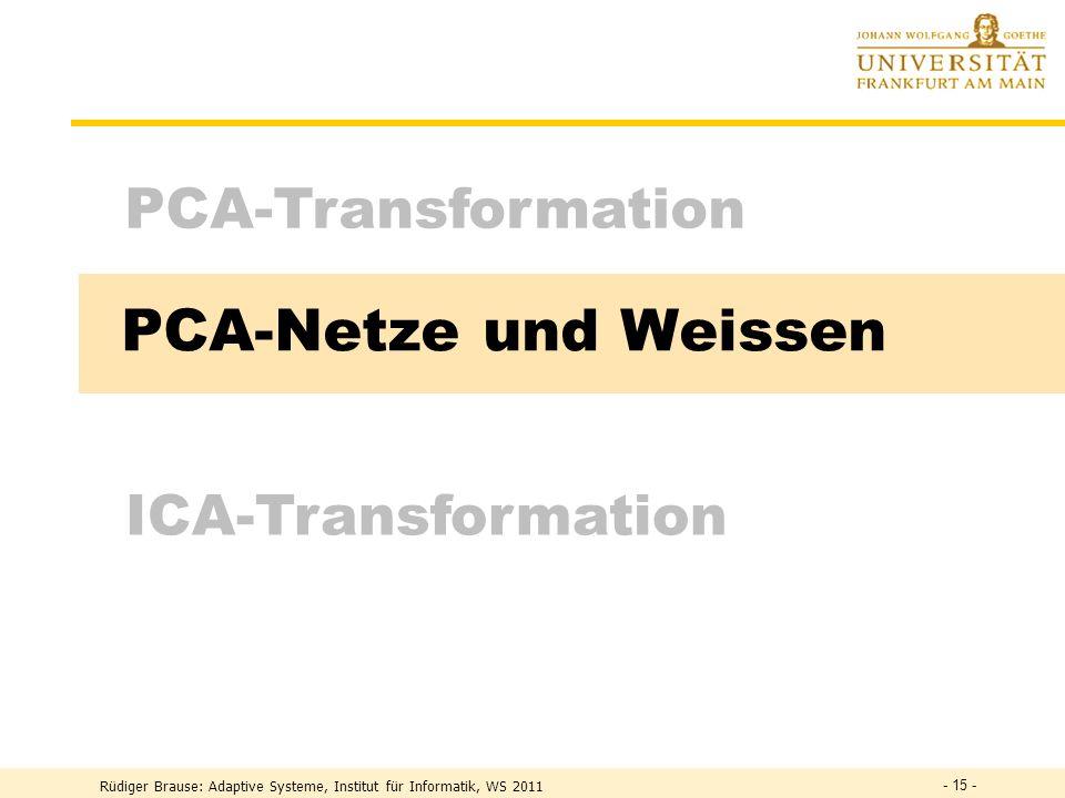 Rüdiger Brause: Adaptive Systeme, Institut für Informatik, WS 2011 - 14 - Transformation mit minimalem MSE Minimaler mittlerer Abstand zur Gerade (Hyp