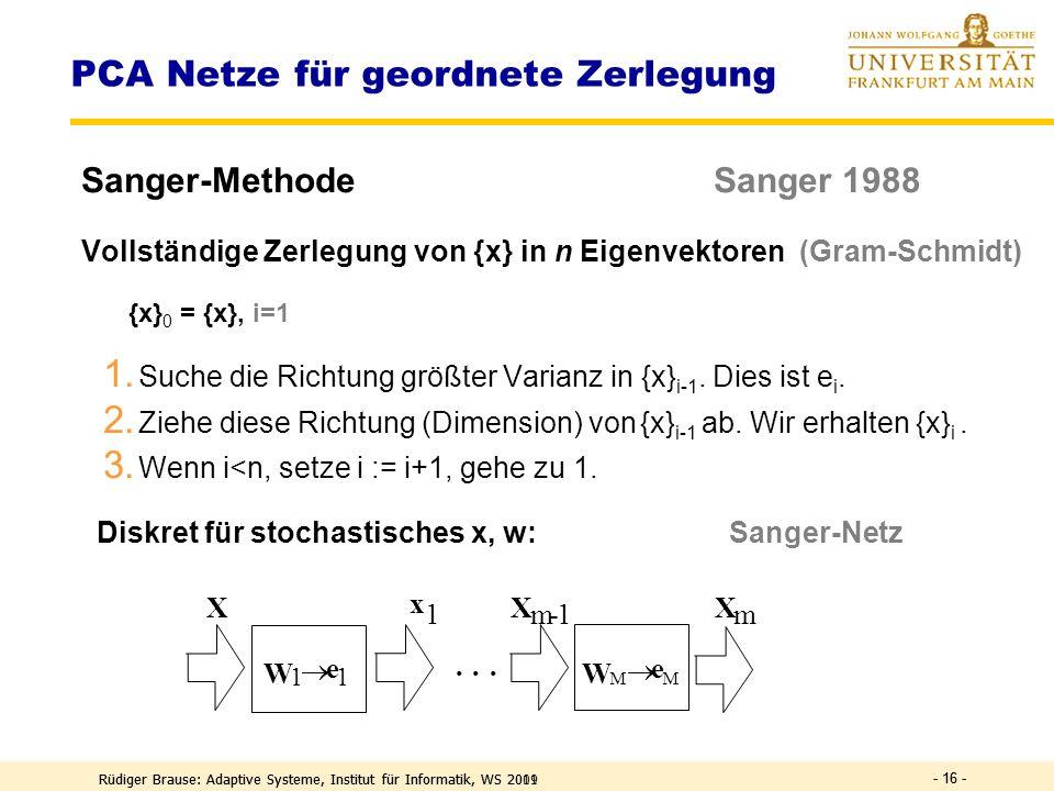 Rüdiger Brause: Adaptive Systeme, Institut für Informatik, WS 2011 PCA-Netze und Weissen PCA-Transformation ICA-Transformation - 15 -