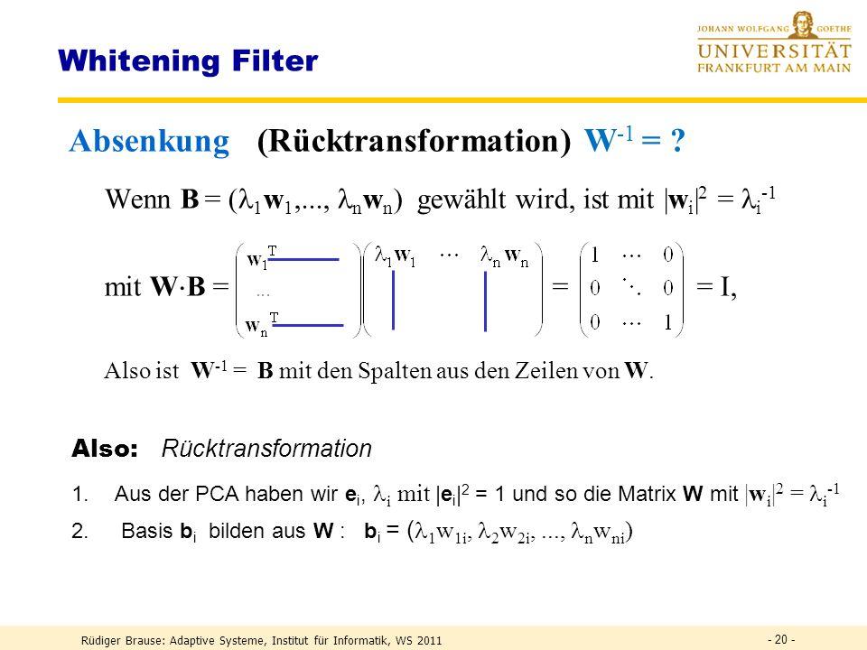 Rüdiger Brause: Adaptive Systeme, Institut für Informatik, WS 2011 - 19 - Whitening Filter Anhebung bei parallelen Signalen Wenn für die Transformatio