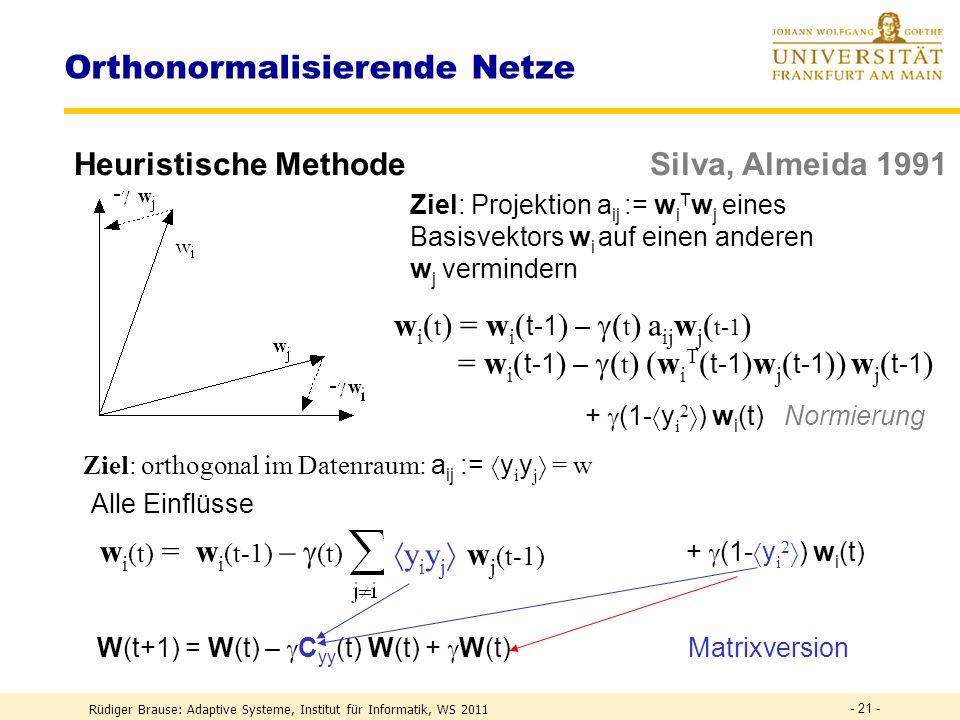 Rüdiger Brause: Adaptive Systeme, Institut für Informatik, WS 2011 - 20 - Whitening Filter Absenkung (Rücktransformation) W -1 = ? Wenn B = ( 1 w 1,..