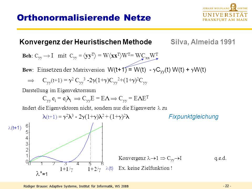 Rüdiger Brause: Adaptive Systeme, Institut für Informatik, WS 2011 - 21 - Orthonormalisierende Netze Heuristische Methode Silva, Almeida 1991 Ziel: Pr