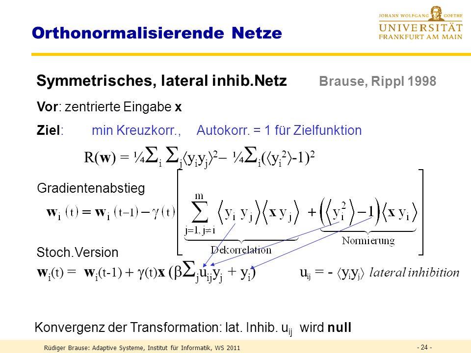 Konvergenz von Fixpunkten | g´(w) | < 1 bzw. < 1 Rüdiger Brause: Adaptive Systeme, Institut für Informatik, WS 2011 - 23 - | g´(w) | > 1 Stabiler Fixp