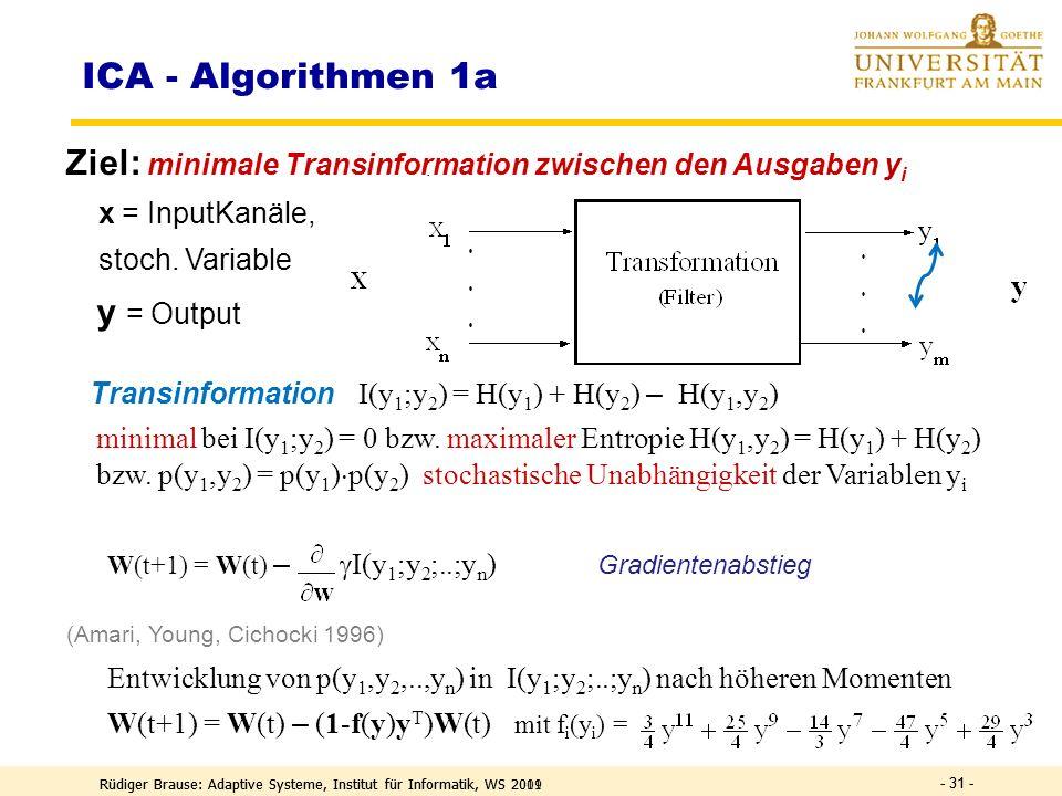 Rüdiger Brause: Adaptive Systeme, Institut für Informatik, WS 2011 - 30 - DEF Information I ~ n = ld(2 n ) = ld ( Zahl der möglichen Daten ) I ~ ld(1/