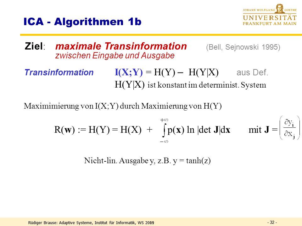 Rüdiger Brause: Adaptive Systeme, Institut für Informatik, WS 2009 - 31 - Ziel: minimale Transinformation zwischen den Ausgaben y i x = InputKanäle, s