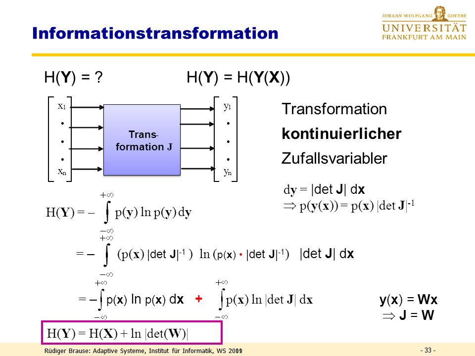 Rüdiger Brause: Adaptive Systeme, Institut für Informatik, WS 2009 - 32 - Transinformation I(X;Y) = H(Y) – H(Y|X) aus Def. H(Y|X) ist konstant im dete