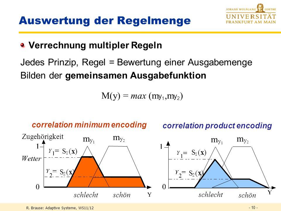 R. Brause: Adaptive Systeme, WS11/12 - 9 - schlecht schön m y1y1 m y2y2 Fuzzy-Regeln Auswertung des DANN-Terms WENN S(x 1,x 2 ) DANN m y (y) S 1 ( x )