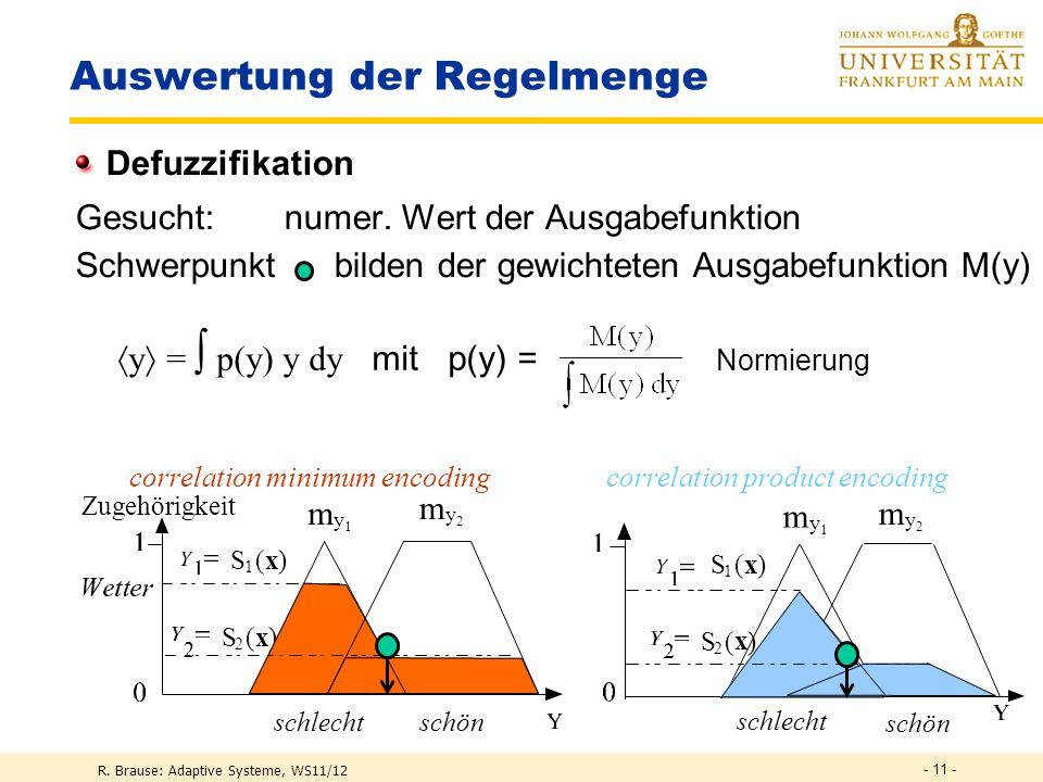 R. Brause: Adaptive Systeme, WS11/12 - 10 - Auswertung der Regelmenge Verrechnung multipler Regeln Jedes Prinzip, Regel = Bewertung einer Ausgabemenge