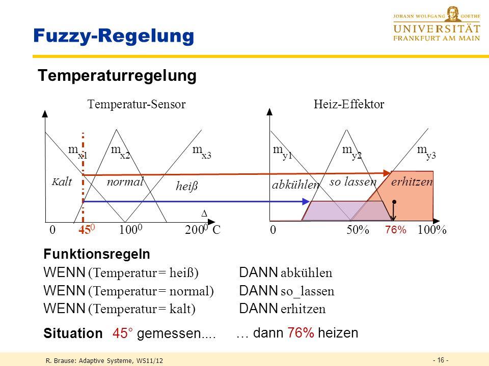 R. Brause: Adaptive Systeme, WS11/12 - 15 - Fuzzy-Regelung Klassischer Regelkreis Sollzustand Effektor Istzustand Sensor System Regler