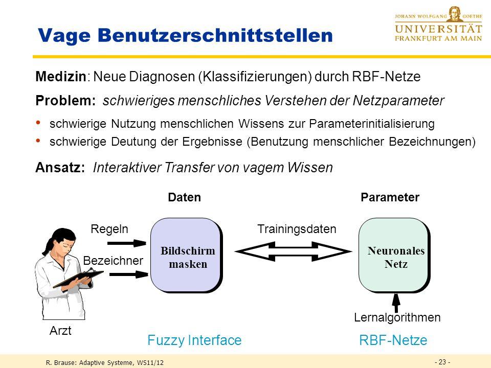 R. Brause: Adaptive Systeme, WS11/12 Diagnosemodellierung Neural network Vorhersage: Überleben Versterben Vorhersage Patientendaten - 22 -