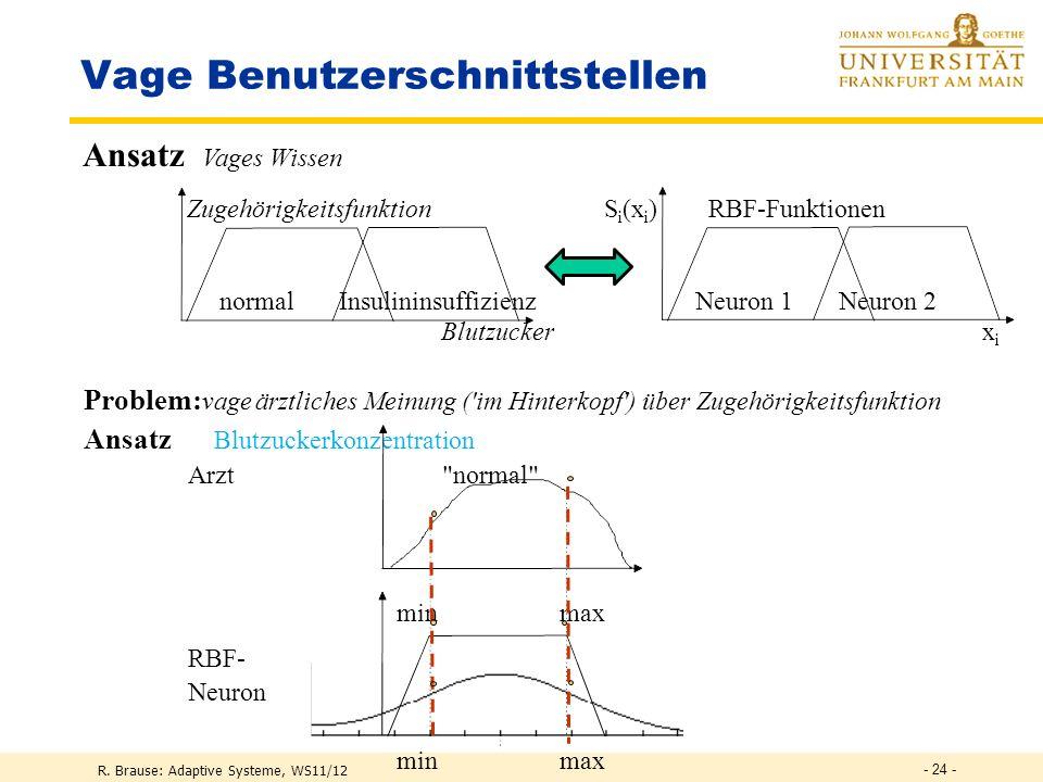 R. Brause: Adaptive Systeme, WS11/12 - 23 - Medizin: Neue Diagnosen (Klassifizierungen) durch RBF-Netze Problem: schwieriges menschliches Verstehen de