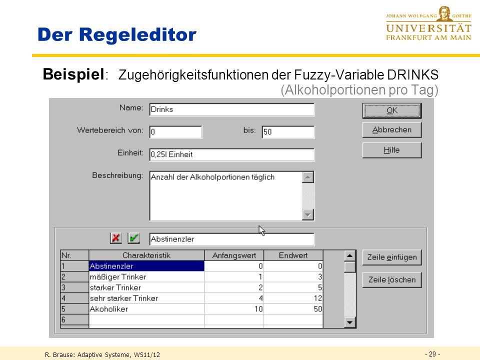 R. Brause: Adaptive Systeme, WS11/12 - 28 - Der Regeleditor Übersicht Festlegung Eingabevariablen und res. Ausgaben (Klassen)