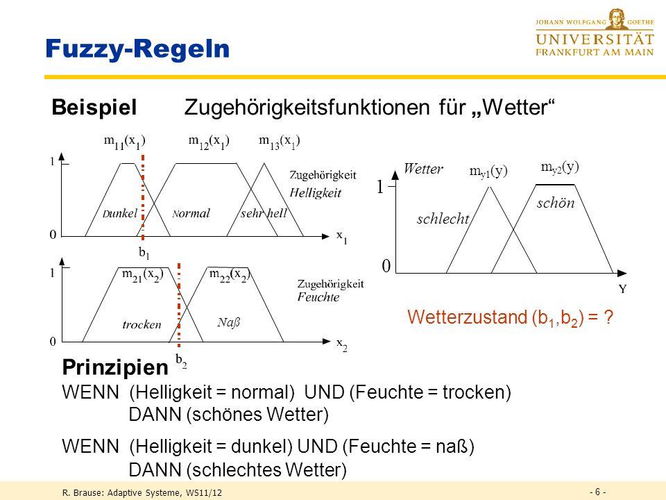 R. Brause: Adaptive Systeme, WS11/12 Fuzzy-Regelsysteme Fuzzy-Variable Anwendung in der Medizin - 5 -