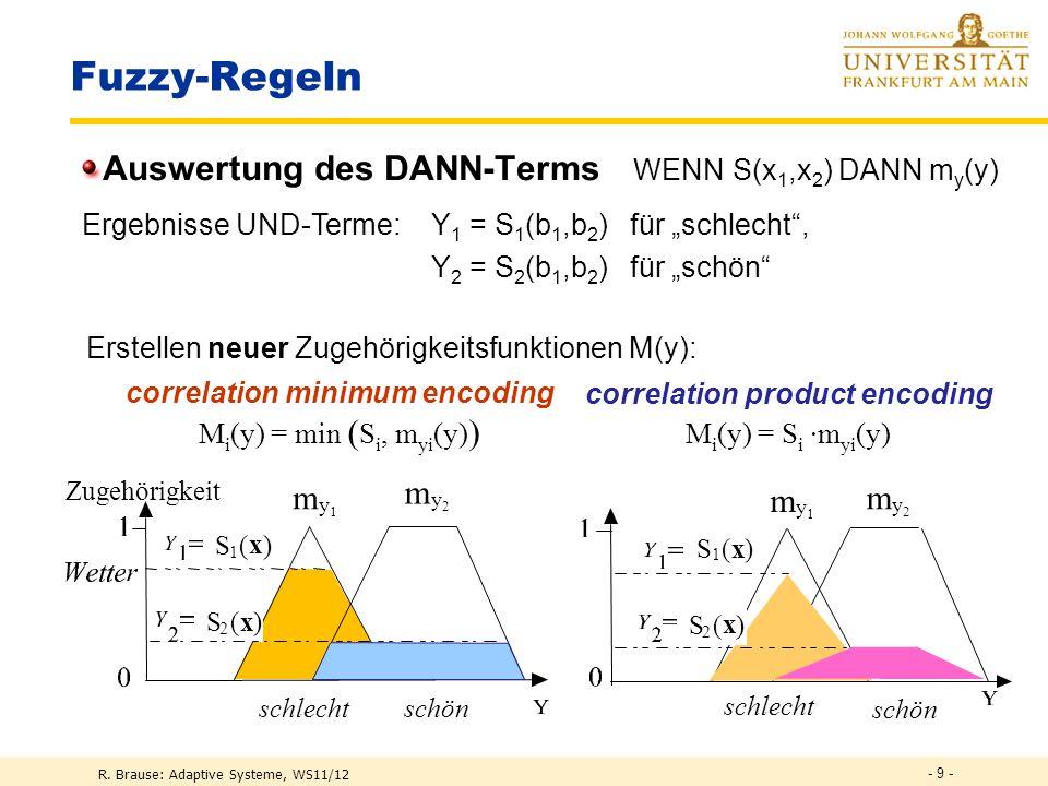 R. Brause: Adaptive Systeme, WS11/12 - 8 - Fuzzy-Regeln Auswertung der UND-Terme S(x 1,x 2 ) = m 1 (x 1 ) UND m 2 (x 2 ) Core region Support region Co