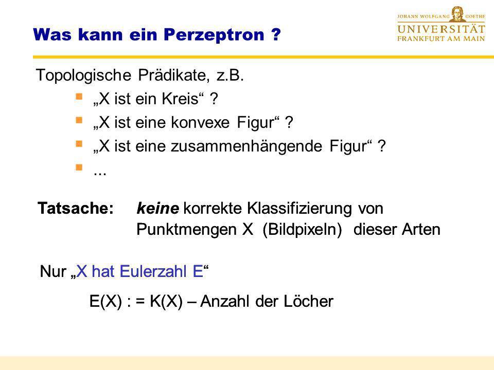 Was kann ein Perzeptron ? Erwartung: Intelligente Leistungen durch Wahl von (S) Abbildung der Merkmale auf linear separierbare Mustermengen Perzeptron