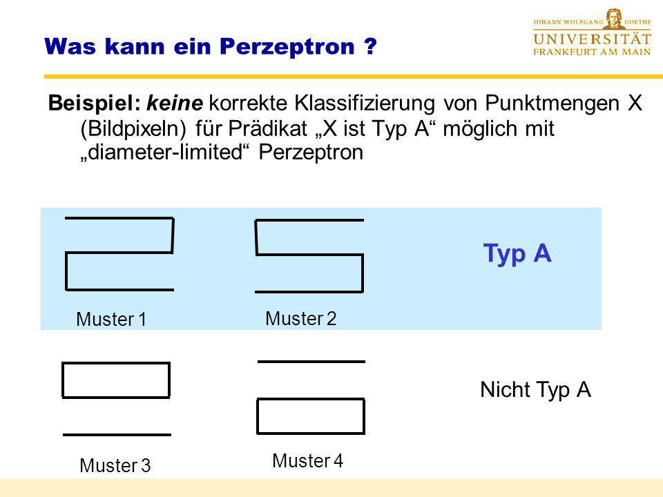 Was kann ein Perzeptron ? Eulerzahl E E(X) : = K(X) – Anzahl der Löcher K(X) : = zusammenhängende Komponenten Loch := zusamm. Komponente der komplemen