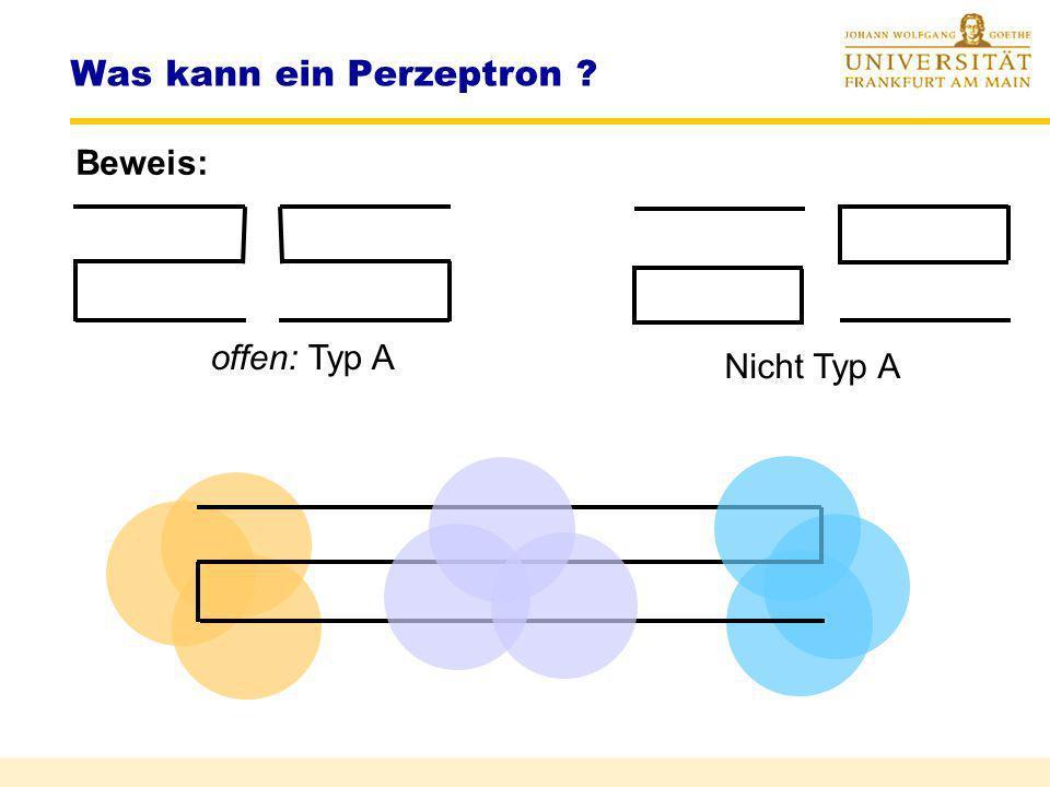 Was kann ein Perzeptron ? Beispiel: keine korrekte Klassifizierung von Punktmengen X (Bildpixeln) für Prädikat X ist Typ A möglich mit diameter-limite