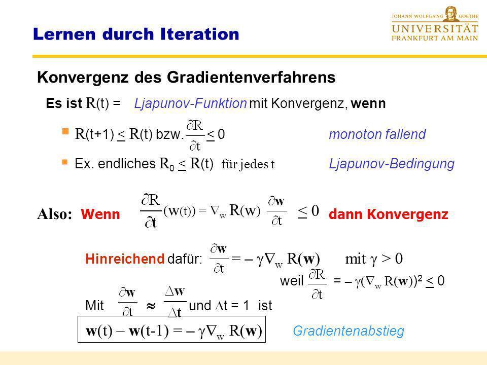 w t+1 = w t –Newton-Verfahren Lernen durch Iteration Newton-Iteration F(w) f(w) f(w t ) ) w* w t+1 w t w t f(w t ) = = w t+1 = w t –