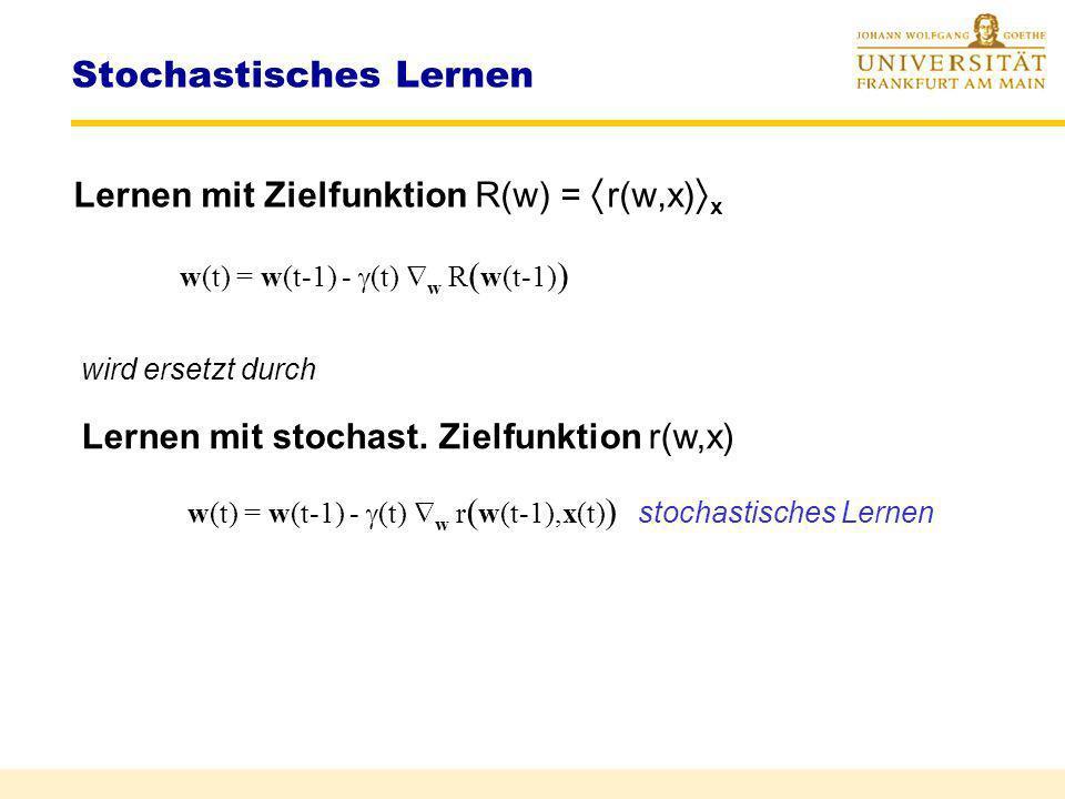 Stochastische Approximation Gesucht: Nullstelle einer stochast. Funktion f(x,w) = R(x,w) F(w) a|w-w*| + b w*w f (x, w ) Methode 2: Einfach f(x,w) verw
