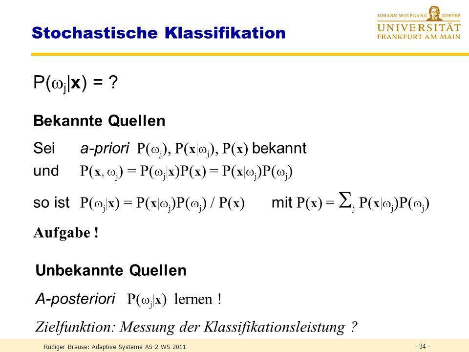 Rüdiger Brause: Adaptive Systeme AS-2 WS 2011 - 33 - Stochastische Musterklassifikation Grundsituation der Erkennung M 1 2 P( i )... P( X | i ) mit P(