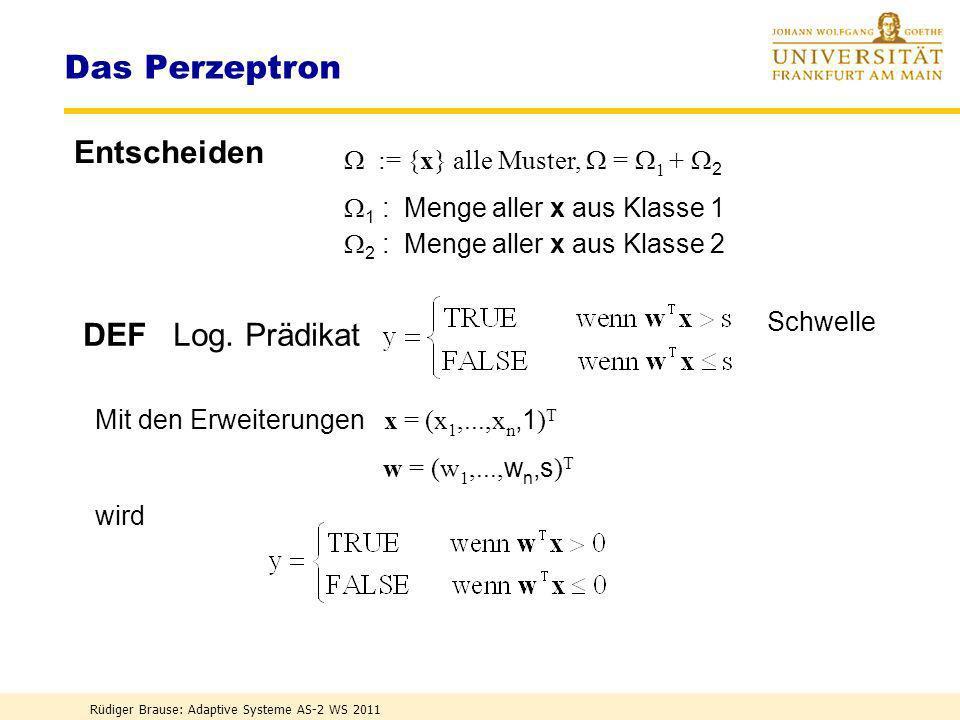 Rüdiger Brause: Adaptive Systeme AS-2 WS 2011 Das Perzeptron Idee: Reize wiedererkennen Rosenblatt 1958 Künstliche Retina Assoziations-Schicht Respons