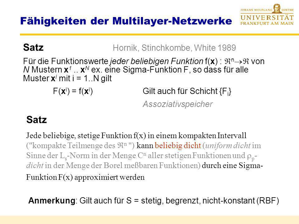 Approximationsnetze Interpolation anhand von Beispielen (Stützstellen) Fähigkeiten der Multilayer-Netzwerke Typ. NetzLinearkombinationen von Basisfunk