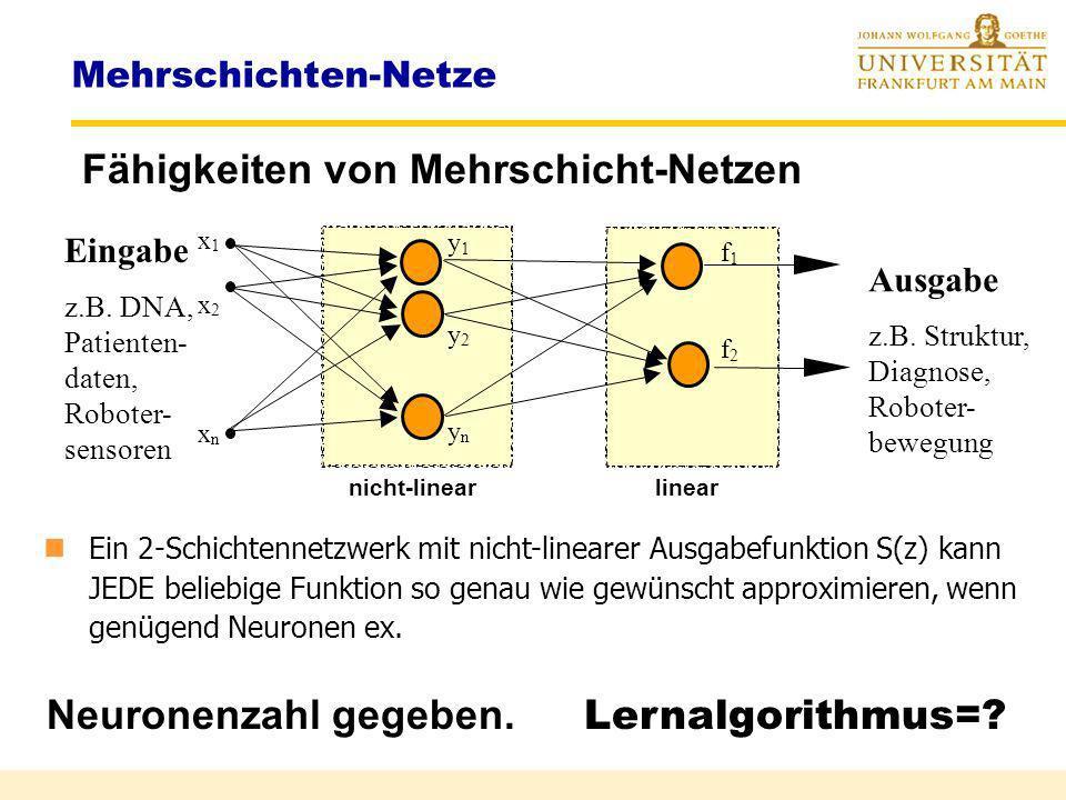Fähigkeiten der Multilayer-Netzwerke Frage : Wieviel Schichten muss ein Netzwerk mindestens haben, um eine beliebige Funktion beliebig gut zu approxim
