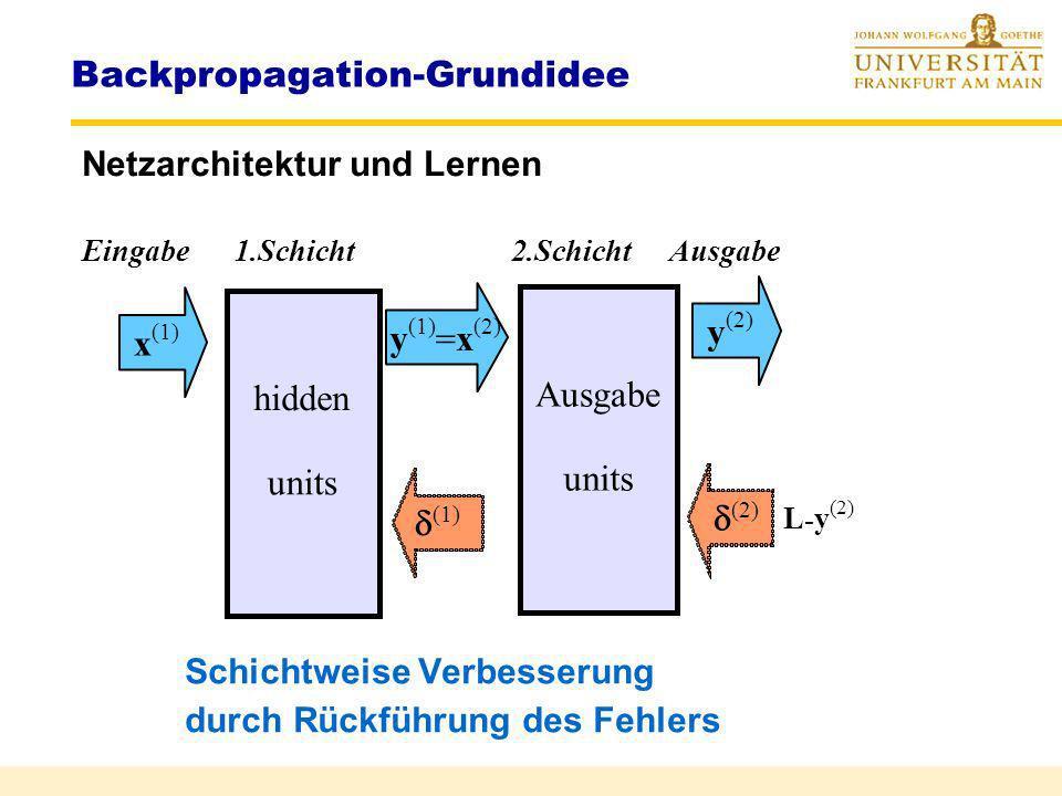 Backpropagation Netzarchitektur und Aktivität Eingabe hidden units Ausgabe x Gesamtaktivität