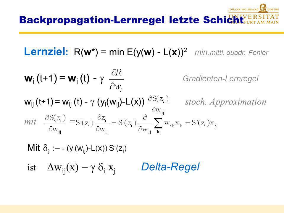 Backpropagation-Grundidee Schichtweise Verbesserung durch Rückführung des Fehlers Netzarchitektur und Lernen Eingabe 1.Schicht 2.Schicht Ausgabe x (1)