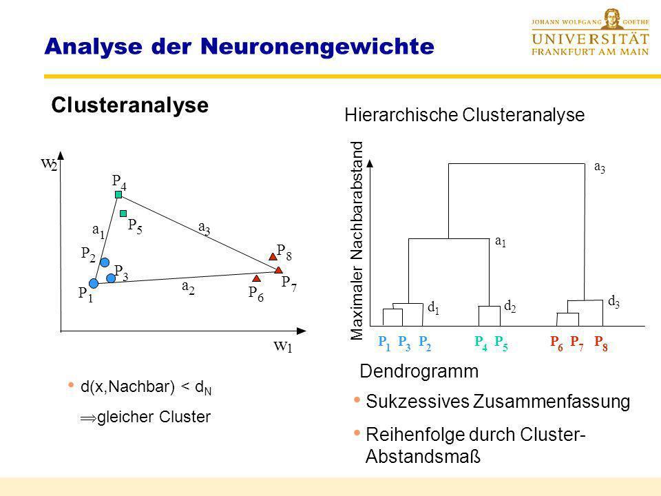 Analyse der Neuronengewichte Visualisierung der GewichteHinton Diagramm neg. Gewichte pos. Gewichte Sinn = ? Gewichte von Neuron 1 Gewichte von Neuron