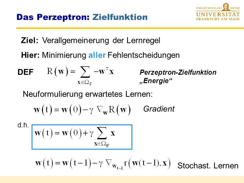 Das Perzeptron: Konvergenz Perzeptron - Konvergenztheorem (Minsky Papert 1988) Wenn die Mustermenge i linear separierbar ist, so konvergiert der Algor