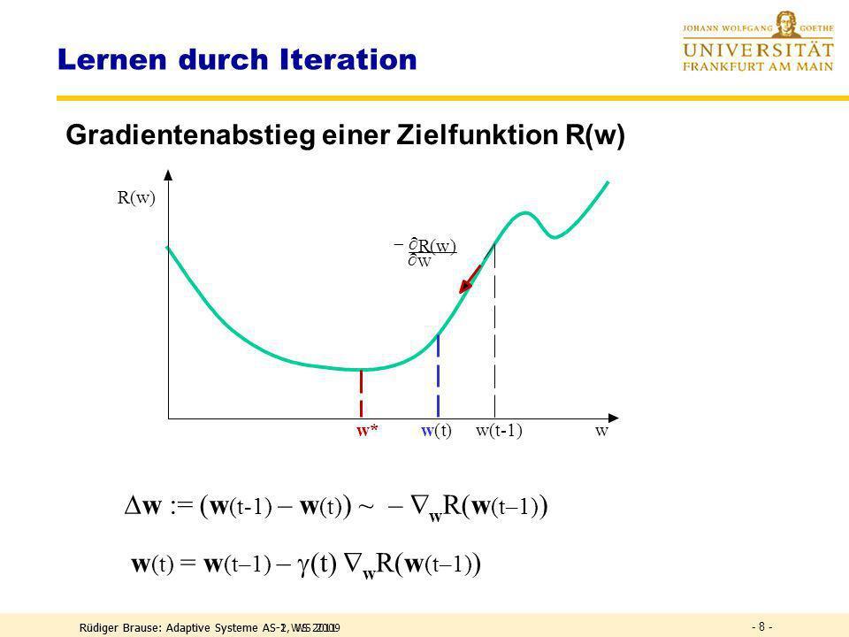 Das Perzeptron: Zielfunktion DEF Perzeptron-Zielfunktion Energie Ziel: Verallgemeinerung der Lernregel Hier: Minimierung aller Fehlentscheidungen Neuf