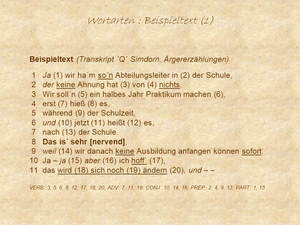Wortarten : Beispieltext (1) Beispieltext (Transkript ´Q´ Simdorn, Ärgererzählungen).