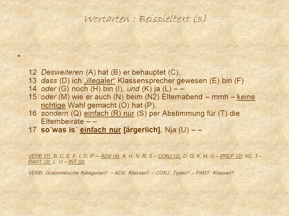 Wortarten : Beispieltext (3) 12 Desweiteren (A) hat (B) er behauptet (C), 13 dass (D) ich illegaler Klassensprecher gewesen (E) bin (F) 14 oder (G) noch (H) bin (I), und (K) ja (L) – – 15 oder (M) wie er auch (N) beim (N2) Elternabend – mmh – keine richtige Wahl gemacht (O) hat (P), 16 sondern (Q) einfach (R) nur (S) per Abstimmung für (T) die Elternbeiräte – – 17 so´was is´ einfach nur [ärgerlich].