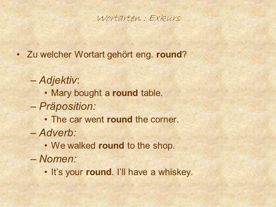Wortarten : Exkurs Zu welcher Wortart gehört eng.round.