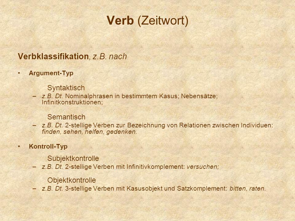 Verb (Zeitwort) Verbklassifikation, z.B.nach Argument-Typ Syntaktisch –z.B.